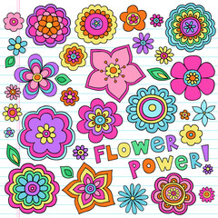 Flower Power Groovy Notebook Doodles Vector Set Design Elements