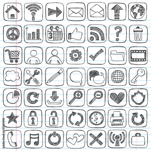 Web Icons Set Sketchy Notebook Doodles Design Elements