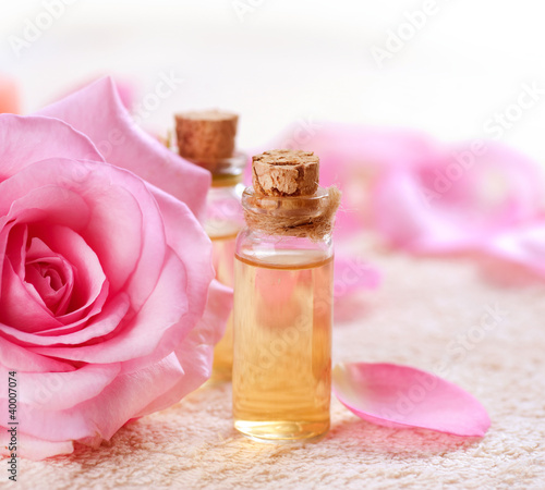 Bottles of Essential Oil for Aromatherapy. Rose Spa