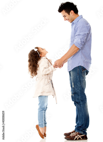 Girl reaching her dad