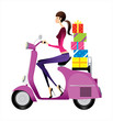 side view of woman riding scooter