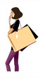 side view of woman holding bag