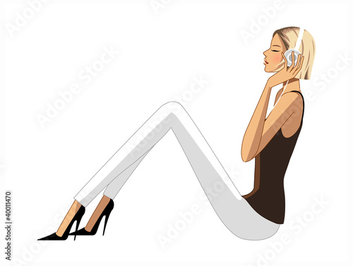 side view of woman listening music