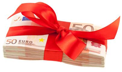 liasse de billets en paquet cadeau, ruban rouge