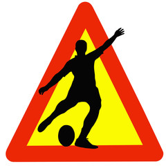 Rugby Player Silhouette on Traffic Warning Sign