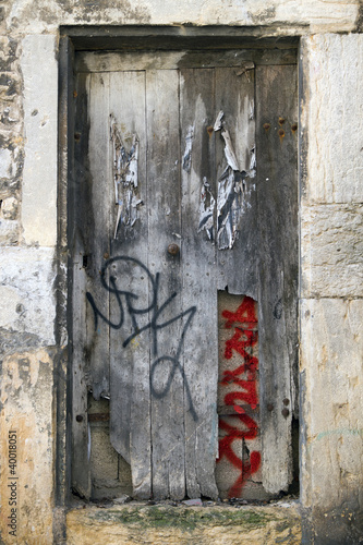grunge door with graffiti