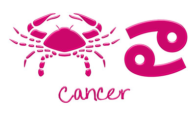 Cancer Zodiac Signs - Hot Pink