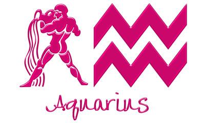 Aquarius Zodiac Signs - Hot Pink