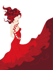 Yong woman in waving red dress isolated