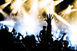 canvas print picture - crowd with hands raised at a live music concert