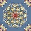 голубой бесшовный орнамент с круглыми узорами