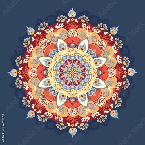 кружевной круглый узор. синий, красный, желтый