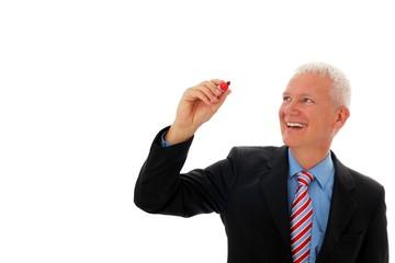 Geschaeftsmann mit Stift in Luft