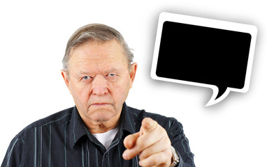 Old man pointing you with speech bubble
