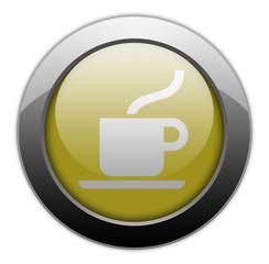 "Yellow Metallic Orb Button ""Coffee Shop"""