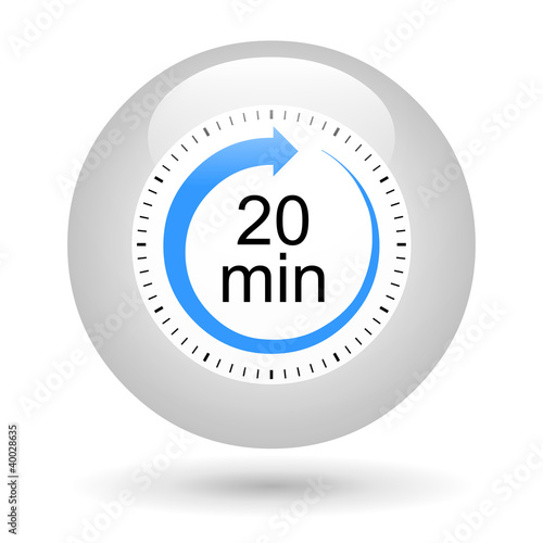 Leinwandbild Motiv Bouton icône minuterie - 20 minutes
