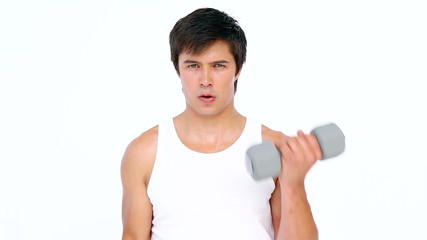 Man using dumbbell