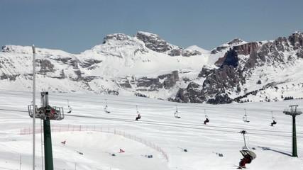 Ski lifts at Val Di Fassa ski resort in Italy