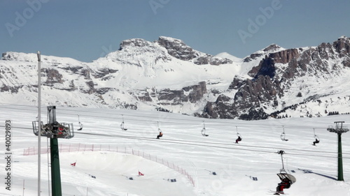 Ski lifts at Val Di Fassa ski resort in Italy