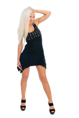 Sexy blond lady in black dress on white background