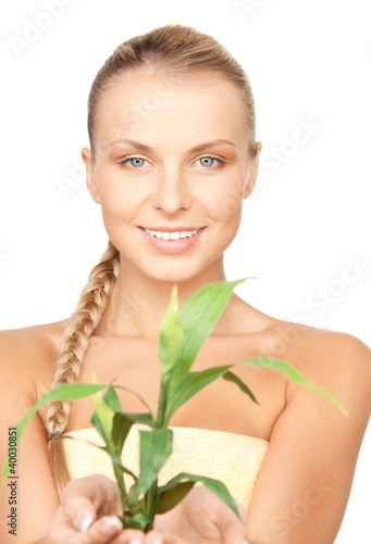 woman with green sprout