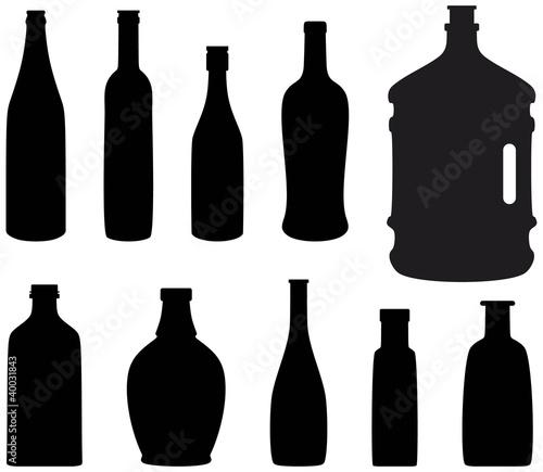 红酒瓶剪影矢量图