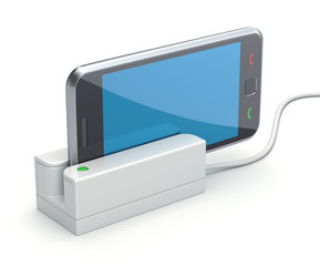 Mobile phone in the card reader