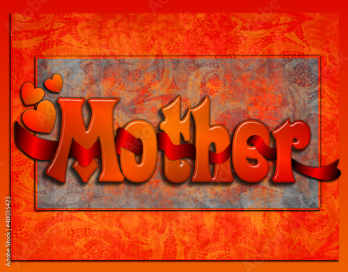 "Red ribbon entwined thru the word ""Mother"" on elegant background"