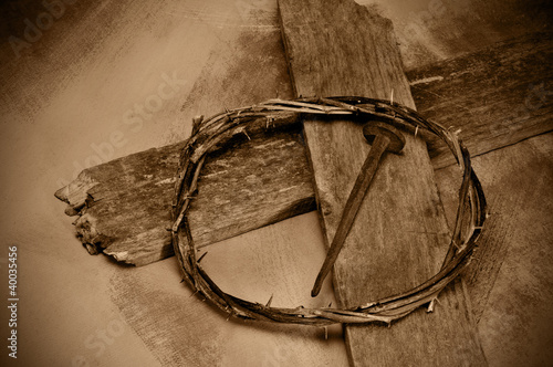Jesus Christ cross, nail and crown of thorns
