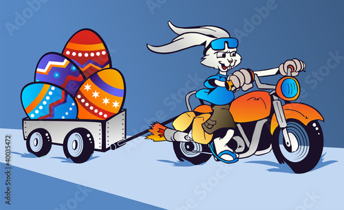 Crazy Easter Bunny cartoon in motorbike