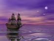 Flying Dutchman, pirate ship sailing in the moonlight