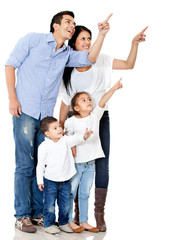 Family pointing with finger