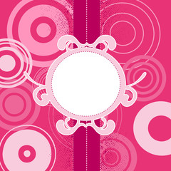pink background with circles, vector illustration