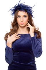 Sexy girl in blue bonnet