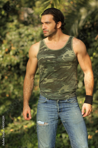 Hot guy outdoors