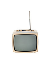 Vintage television on white background