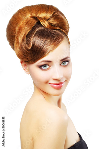 Beautiful girl with retro hairstyle isolated on white
