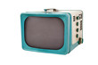 Classic blue television on white background