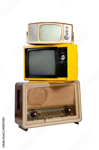 Vintage eletronic group on white background