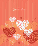 Love background with abstract hearts