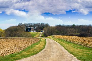 Farmland with stormy sky