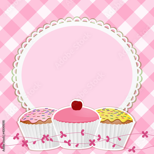 cupcakes and border on pink gingham