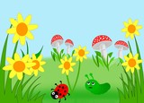 Flowers, mushrooms, a ladybug and a caterpillar.