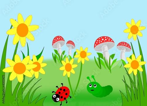 Flowers, mushrooms, a ladybug and a caterpillar.