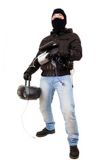 Thief with goods, isolated on white