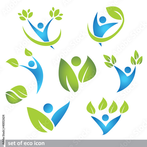 set of eco and people icon
