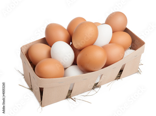 Lot of eggs isolated on white
