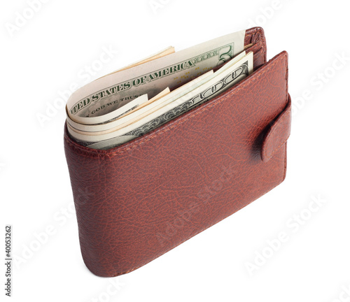 Brown wallet with money isolated on white