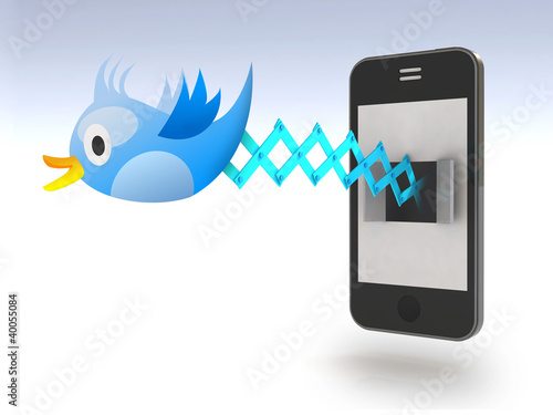 Blue bird tweets and sings on smartphone