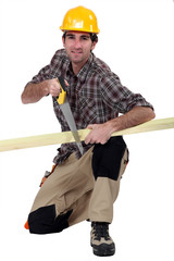 A carpenter sawing a plank of wood.